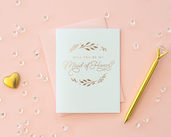 Rose Gold Foil Will You Be My Maid of Honor card maid of honor proposal maid of honor invitation maid of honor gift bridesmaid box rose gold