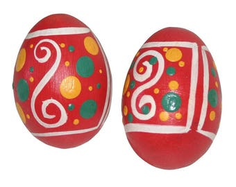 Handmade Hand Painted Wooden Egg Shakers-Pair