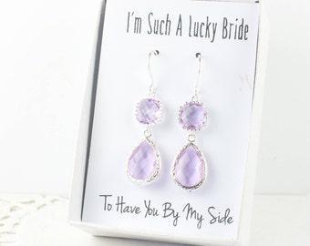 Long Lavender Silver Teardrop Earrings, June Birthstone Earrings, Purple Silver Earrings, Bridesmaid Earrings, Lavender Wedding Jewelry