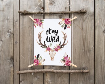 stay wild, Deer skull, floral deer skull, wild and free, boho nursery decor tribal print, floral antler tribal gallery wall print