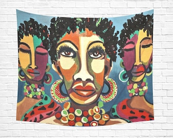 """African Women Wall Tapestry 60""""x 51"""""""