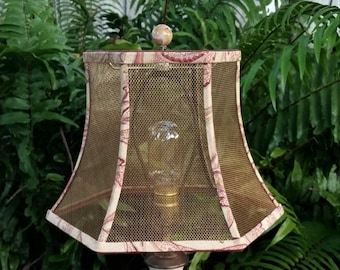 Wire lampshade frame etsy au mesh lampshade bronze screen hexagon bell frame botanical fabric trim red keyboard keysfo Image collections