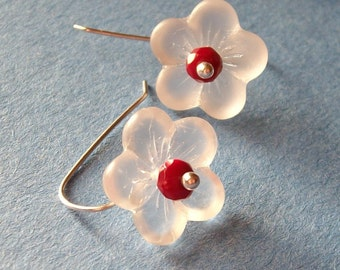 Frosted Sakura Cherry Blossom - White Red Sterling Silver Earrings - Paw & Claw Designs