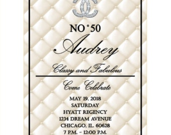 Cream and Black Classy and Fabulous Invitation