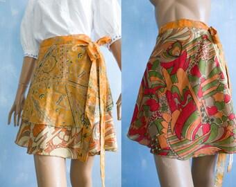 VTg Two Skirts In One,  yellow orange reversible  Wrap Skirt/Indian Ethnic mini floral print skirt/beach skirt/S
