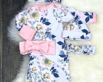 Newborn girl coming home outfit, Baby Girl hospital outfit, Infant girl Layette Gown in Soft Floral with Blush Bow Turban or Floral Top Knot