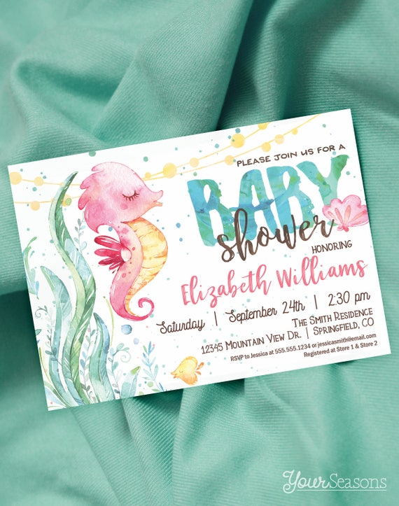 Seahorse Baby Shower Invitation Under The Sea Printable