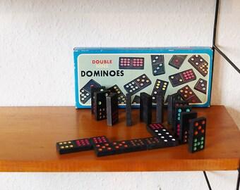 Domino Spiel aus den 70s im Karton. Steine mit farbigen Punkten. Mid century Double Nine Dominoes. Vintage. Geschenk. Ostern. Deko.