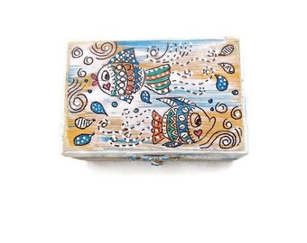 Hand Painted Zentangle Jewelry Box, Painted Wood Dot Art Jewelry Box, Zentangle Distressed Jewelry Box, Multicolor Jewelry Box - LOVEFISH