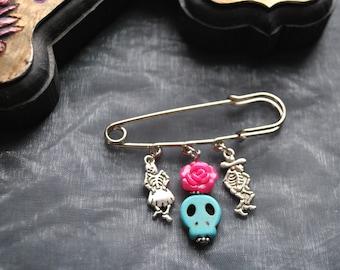 Day of the Dead Dancing Skeleton and Skull Pin Brooch  // Dia de los muertos // Calaveras // Mexican // Badge
