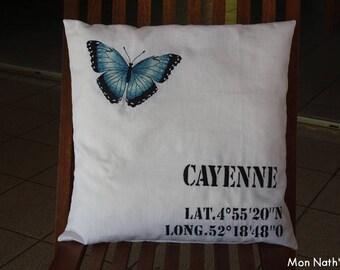 Latitude Longitude embroidered decorative pillow