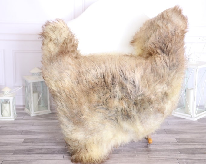 Sheepskin Rug | Real Sheepskin Rug | Shaggy Rug | Scandinavian Rug | | SCANDINAVIAN DECOR | Brown Ivory Sheepskin #OLHER26