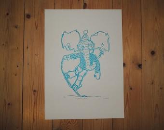 Snowboarding Elephant - Blue screen print