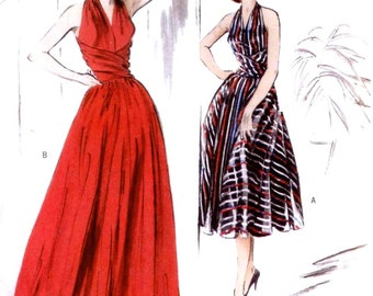 Retro 1952 Rockabilly halter dress Wedding prom evening gown sewing pattern Butterick 4919 Re issue of 1952 dress Sz Size 14