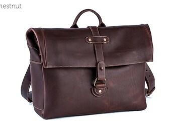 Heritage Leather Men's Satchel Bag -Chestnut | Leather Messenger Bag, Leather Satchel