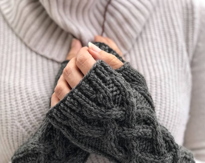 Charcoal Gray Celtic Cable Knit Fingerless Gloves Merino Wool