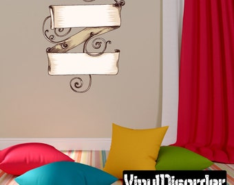 Ornate Scroll Wall Decal - Wall Fabric - Vinyl Decal - Removable and Reusable - ScrollOrnateUScolor004ET