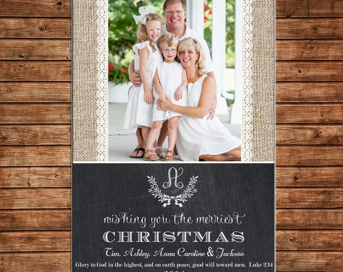 Photo Picture Christmas Holiday Card Burlap Lace Chalkboard Chalk Monogram Elegant - Digital File