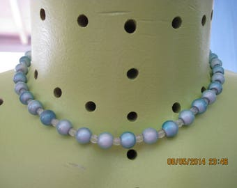 Vintage GORGEOUS 2 Toned Blue 'Holographic' Bead Necklace..6855...Gift 4 Her,Elegant Jewelry,High Fashion,High Class