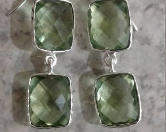 Faceted Prasiolite (Green Amethyst) Dangle Earrings