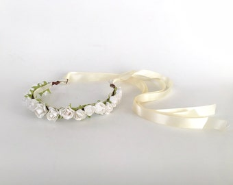 White Rose Baby crown - Newborn crown - white flowergirl flower crown - baby crown - gift for baby - newborn photo shoot prop