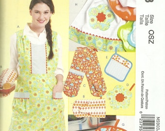 MCCALLS PATTERN M5903, vintage style aprons with accessories, hot mitts, etc., new and uncut