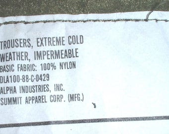 USN US Navy ImpermeableTrousers, X-Large, Alpha-Summit 1988; great shape!