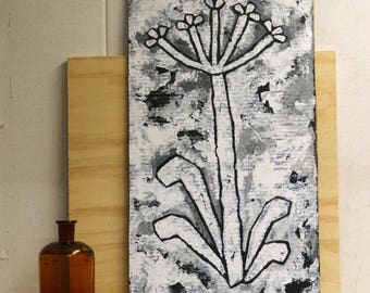 Robust and rustic painting of an african lily in black and white - made on cardboard - original - ooak