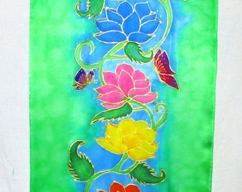 Lotus Chakra silk tapestry,chakra silk wallhanging,spiritual gift,lotus art, chakra art,reiki art, spiritual art,meditation art, yoga art