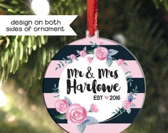 Personalized Wedding Ornament, First Christmas as Mr and Mrs Ornament, Black and Pink Stripe Ornament, Newlywed Christmas