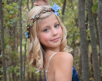 Blue & Green Flower Crown - Blue Flower Girl Crown- Woodland Hair Wreath- Photo Prop- Birthday Flower Crown- Blue Wedding - Baby Halo