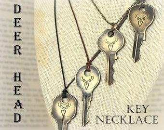 Key Necklace, Deer head necklace, Hand Stamped Necklace, Woodland, Deer Antler Necklace, Stag, Reindeer Necklace, Customizable