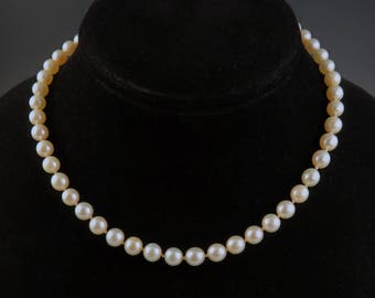 Modern 14k White Gold Filigree Pearl Necklace s 6.97mm