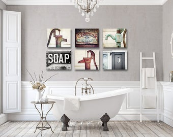 Rustic Bathroom Wall Decor Bathroom Wall Art Set Farmhouse
