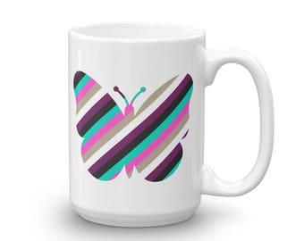 Butterfly Mug, Coffee Mug, Tea Mug, Vintage Art Mug, Retro Art Mug, Illustrated Mug, Cute Mug, Gift Mug, Colorful Mug