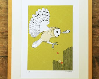 Barn owl & jewels limited edition A3 print