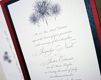 Fireworks Wedding Invitation, July 4th Wedding Invitation, Red, White and Blue Wedding Invitation, Layered Fireworks Invitation Sample