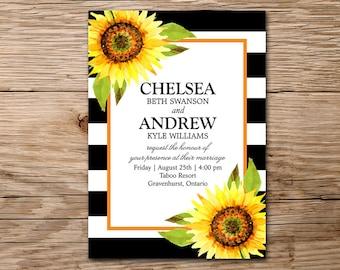 Sunflower Wedding Invitation, Rustic Invitation, Wedding Printable Invitation, Watercolor Invitation, Rustic Wedding Sunflower Invitation