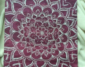 Bohemian Floral canvas, burgundy canvas, handmade canvas art, home decor, bohemian decor, flower canvas