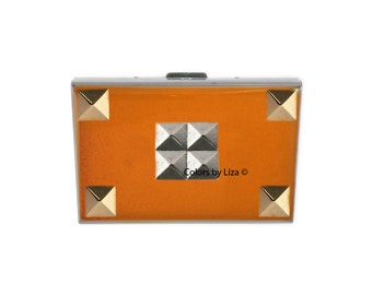 Studs RFID Metal Wallet Inlaid in Hand Painted Orange Opaque Enamel Geometric Inspired with Color and Personalized Options Available