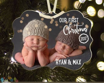 Twins First Christmas ornament - babies first christmas ornament twins (or individual) BLX-004