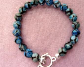 Black and blue Tibetan Agate bracelet