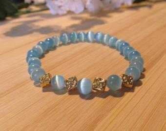 BRACELET light blue -glass beads - gold pieces