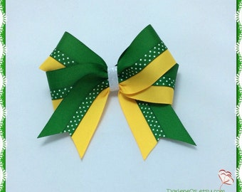 Green and Gold with Tiny White Dots down the Middle and a White Glitter Center Hairbow!