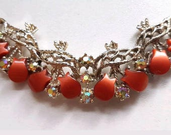 Vintage 1950s Thermoset Tulip and AB Crystal Necklace