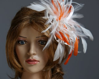 Ivory & Orange Fascinator Hat -Headband or comb     Any colour can be ordered - Wedding,Bridal,Mother of the Bride,Tea Party,Ascot