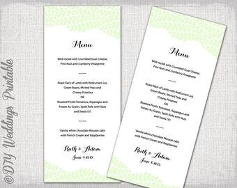 "Wedding menu template -""Vine"" Pistachio green wedding menu -DIY wedding menu template, digital printable menu -EDITABLE instant download"