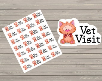 Vet Visit Planner Stickers, Vet Appointment, Cat Small Stickers, Fits Erin Condren, Stickers, Reminder Stickers, Appointment Stickers