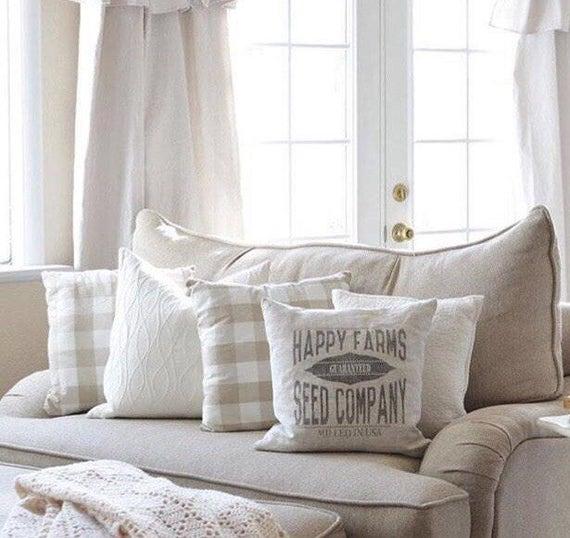 15 Great Diy Farmhouse Decor Ideas That You Must Try: Grain Sack Pillow Farmhouse Pillow Farmhouse Decor Rustic