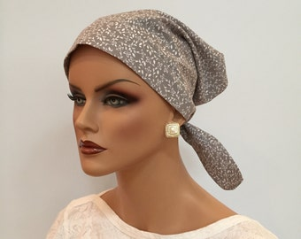 Sandra Scarf - Gray Petite Flowers - A Women's Surgical Scrub Cap, Cancer,  Chemo,  Alopecia Head Cover hat, scarf for women with hair loss.